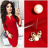 Платье с брошкой - булавкой, арт.805, цвет - красный