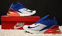 Кроссовки Nike Air Max 270 Flyknit Racer Blue. Живое фото. Топ реплика, фото 1