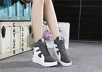 Серые осенние кроссовки на платформе, фото 1