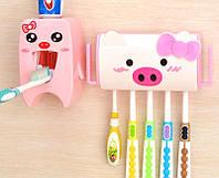 Подвесной дозатор для зубной пасты + держатель для зубных щеток набор, фото 1