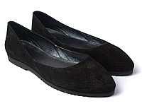 Балетки черные замшевые женская обувь больших размеров Scara V Black Perf Vel by Rosso Avangard BS