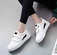 Белые кеды на липучках с черной вставкой, фото 1