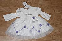 Велюровое платье Фиолетовые розы. Размер 6 - 24 месяца