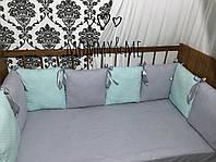 Комплект бортики - защита в кроватку на четыре стороны кроватки