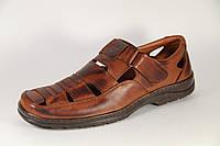 Летние мужские туфли из натуральной кожи на липучке Matador S 01 кор +