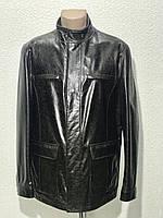 Куртка мужская кожа натуральная на молнии длинная коричневая воротник стойка деми.
