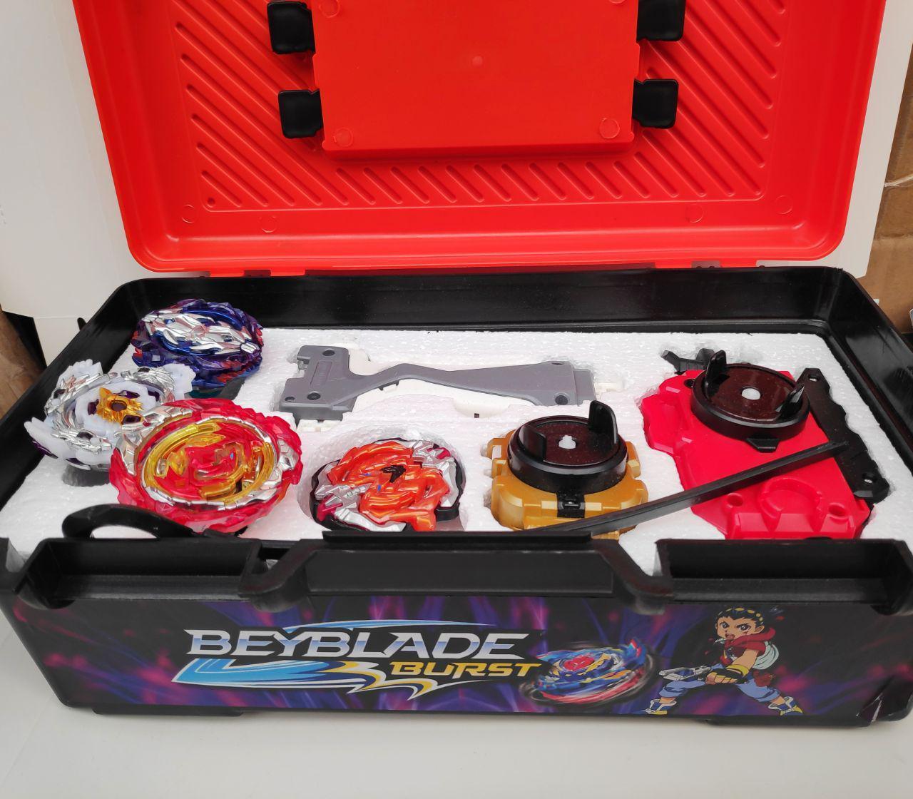 Набор BeyBlade: Кейс-Box + 4 волчка + двухсторонний шнуровой пуск + ленточный пускатор