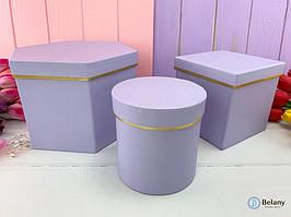 Фигурные подарочные коробки набор 3 шт FIGURES для упаковки цветов для флористики