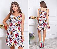 Платье летнее на запах с поясом, арт.112, принт - красные и желтые розы
