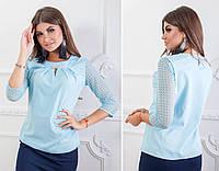 Блуза с кружевными рукавам и брошкой, бенгалин, арт.122, цвет - голубой