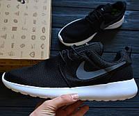 Мужские кроссовки Nike Roshe Run black/white. Живое фото. (Реплика ААА+)