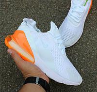 Мужские кроссовки Nike Air Max 270 'White Pack' Total Orange. Живое фото. Топ реплика, фото 1
