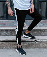 Мужские штаны спортивные Rocky черные с белым. Живое фото, фото 1