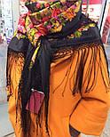 Галина 258-18, павлопосадский платок (шаль) из уплотненной шерсти с шелковой вязанной бахромой, фото 6