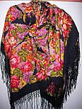 Галина 258-18, павлопосадский платок (шаль) из уплотненной шерсти с шелковой вязанной бахромой, фото 4