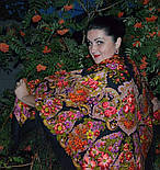 Галина 258-18, павлопосадский платок (шаль) из уплотненной шерсти с шелковой вязанной бахромой, фото 7