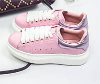 Женские кроссовки Adidas Alexander McQueen Leather pink. Живое фото (Реплика ААА+)