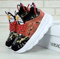 Женские кроссовки Versace Chain Reaction 2 Chainz black red. Живое фото (Реплика ААА+)