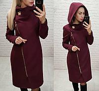 Пальто кашемировое с капюшоном, арт.136, цвет - марсала