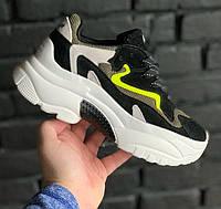 Женские кроссовки Ash Addict Trainers Black/Green. Живое фото (Реплика ААА+)