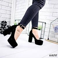 Туфли женские Rexa черная замша