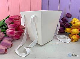Белая упаковка для цветов 12 шт складная с ручками для переноски удобная упаковка для флористики