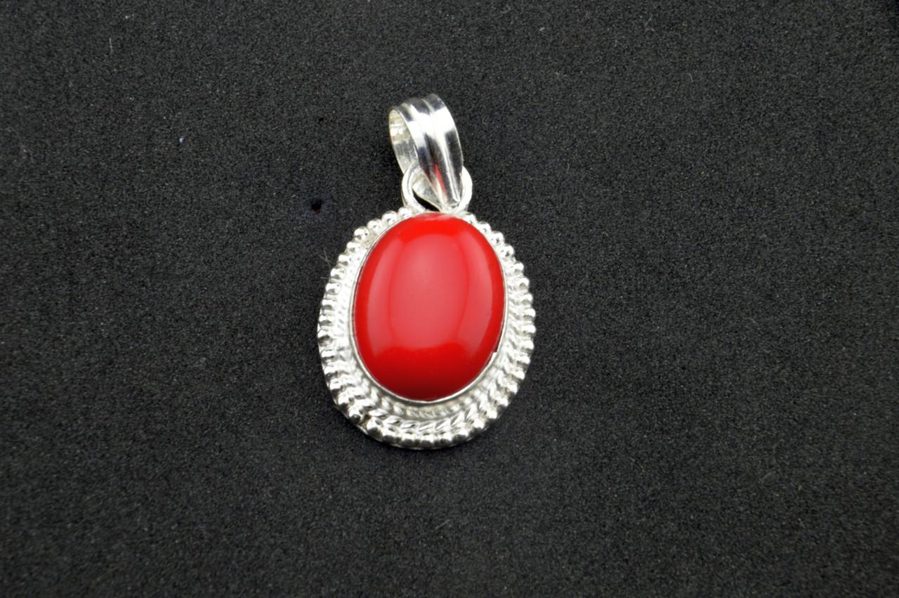Серебряный кулон с красным кораллом серебро 925 проба Индия