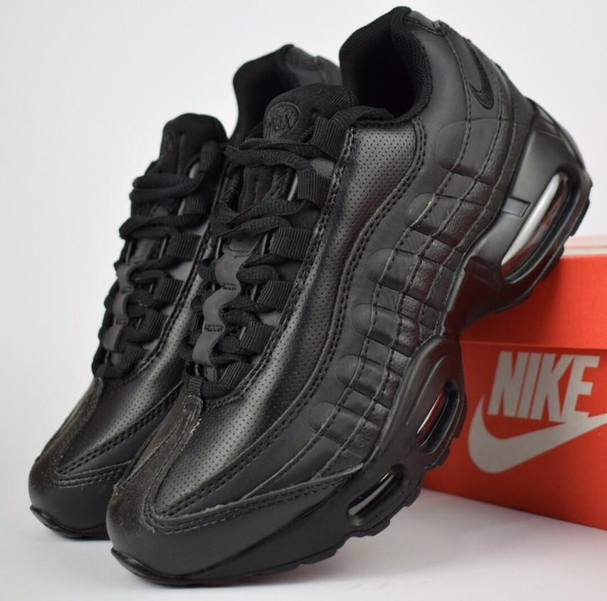 fef48c45 Женские кроссовки Nike Air Max 95 черные. Живое фото. Реплика - Интернет  магазин обуви