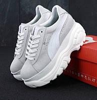 Жіночі кросівки Puma Buffalo Platform Gray white. Живе фото (Репліка ААА+)