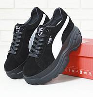 Жіночі кросівки Puma Buffalo Platform Black white. Живе фото (Репліка ААА+)