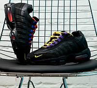 Мужские кроссовки N1ke Air Max 95 Premium Black/Rush Blue. Живое фото (Реплика ААА+)