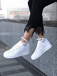 Белые женские кроссовки Nike Air Force из натуральной кожи
