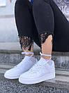 Белые женские кроссовки Nike Air Force из натуральной кожи, фото 6
