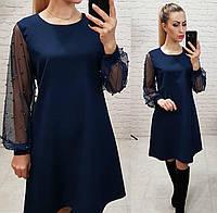 Платье женское, креп+сетка, арт.144, в 5-ти расцветках
