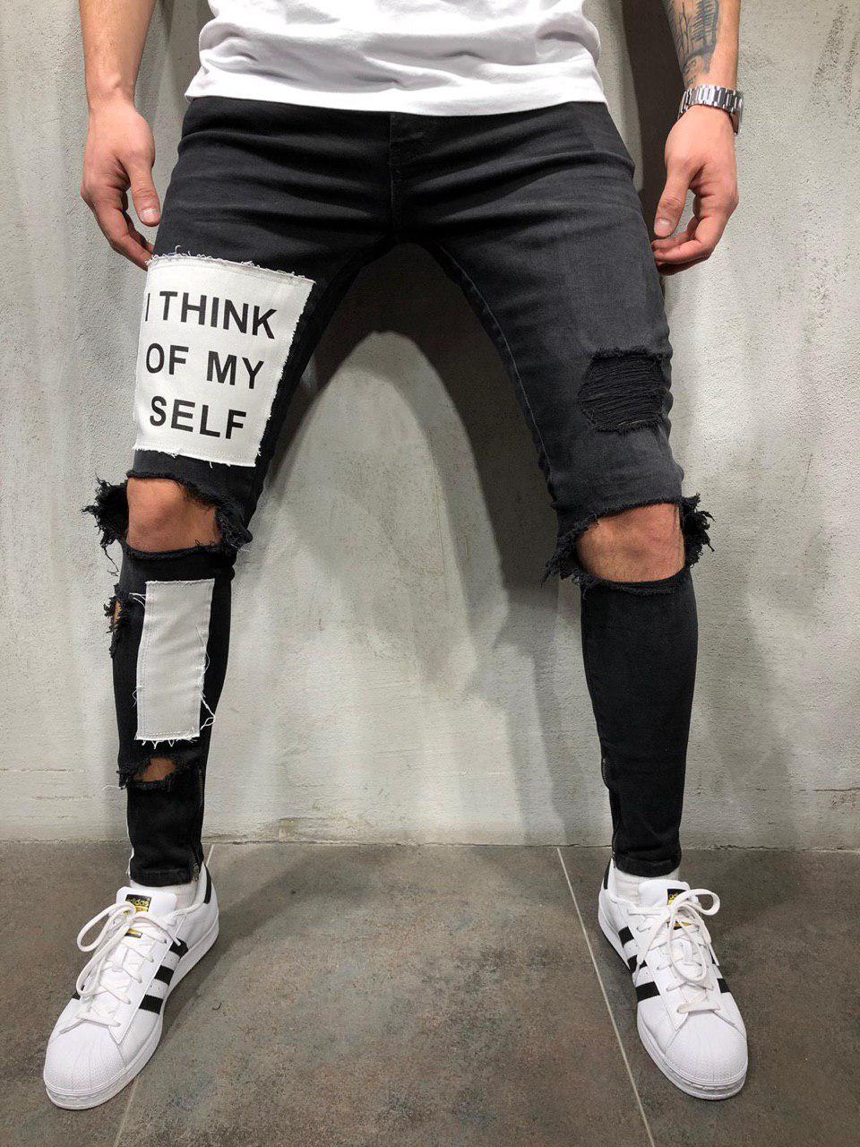 2e5068e6b8b Джинсы мужские черные рваные зауженные весна лето осень ТОП КАЧЕСТВО модные  джинсы с принтом - Магазин