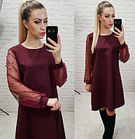 Платье женское, креп+сетка, арт.144, цвет - марсала