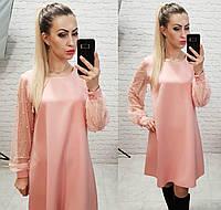 Платье женское, креп+сетка, арт.144, цвет - розовый