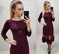 Платье нарядное, креп+сетка, арт.146, цвет - марсала