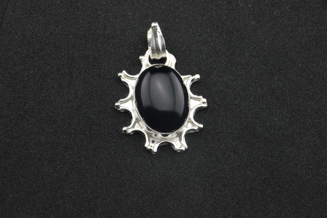 Серебряный кулон с черным камнем оникс серебро 925 проба