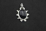 Серебряный кулон с черным камнем оникс серебро 925 проба, фото 1