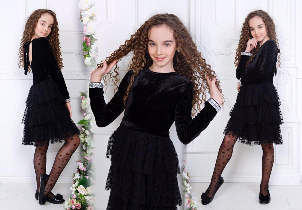"""Детское нарядное платье 511 """"Бархат Сетка Воланы Спина Завязки"""" в расцветках"""