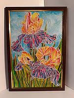 Картина ирисы цветы яркая подарок декор в дом