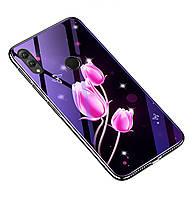 Чехол-накладка TPU+Glass Fantasy с глянцевыми торцами для Huawei Honor 8X (Тюльпаны)