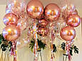 Фольгированный шар сфера 4D, розовое золото 32 дюймов/80 см., фото 6