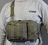 Тактическая - штурмовая универсальная сумка на 8-9 литров с системой M.O.L.L.E Олива (097-olive), фото 3