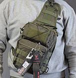 Тактическая - штурмовая универсальная сумка на 8-9 литров с системой M.O.L.L.E Олива (097-olive), фото 5