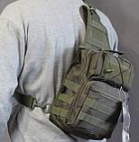 Тактическая - штурмовая универсальная сумка на 8-9 литров с системой M.O.L.L.E Олива (097-olive), фото 6
