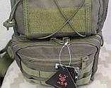 Тактическая - штурмовая универсальная сумка на 8-9 литров с системой M.O.L.L.E Олива (097-olive), фото 10