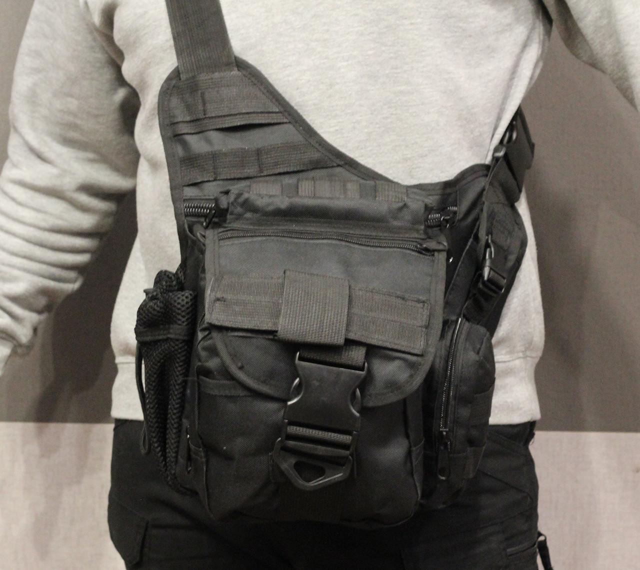 Сумка плечевая универсальная большая, тактическая и туристическая сумка с системой M.O.L.L.E Black (860-black)