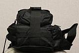 Сумка плечевая универсальная большая, тактическая и туристическая сумка с системой M.O.L.L.E Black (860-black), фото 2
